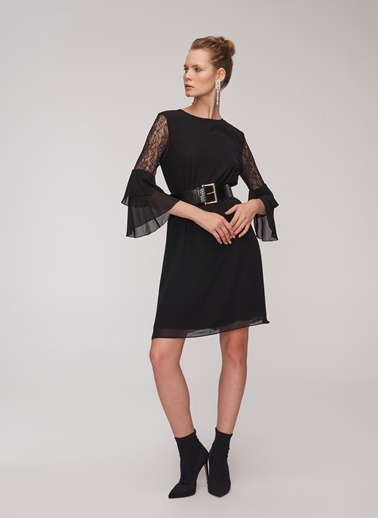 People By Fabrika Dantel Detaylı Şifon Elbise Siyah